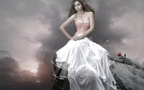 Картинка девушка, бабочка, роза, белое платье, фотоарт
