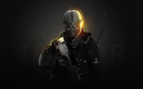 Картинка Полиция, Шлем, Солдат, Оружие, Боец, Police, Фантастика, Снайпер, Future, Modern Warfare, Concept Art, Cyborg, Sniper, …