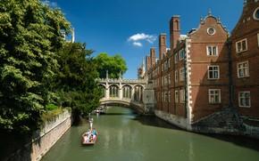 Картинка дом, Англия, канал, Кембридж