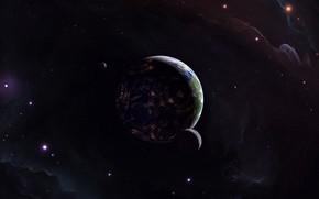 Картинка Звезды, Планета, Космос, Планеты, Planets, Star, Арт, Stars, Space, Art, Спутник, Planet, Illustration, Concept Art, …