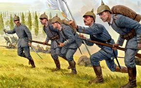 Картинка WWI, Германская имперская армия, Mauser 98, Германская империя, Первая Мировая война, Cолдаты, Битва на Марне …