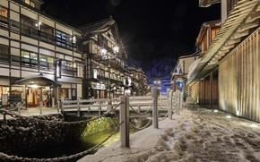 Картинка снег, ночь, улица