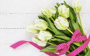 Картинка цветы, букет, лента, тюльпаны, white, белые, wood, flowers, beautiful, romantic, tulips, spring