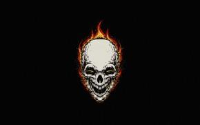 Картинка Минимализм, Череп, Огонь, Стиль, Фон, Ghost Rider, Призрачный гонщик, Пламя, Fantasy, Fire, Арт, Art, Flame, …