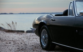 Картинка чёрный, Maserati, дверь, 1969, родстер, кузов, спайдер, на берегу, Ghibli Spider