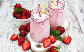 Картинка завтрак, клубника, Йогурт, Баночки, Olena Rudo