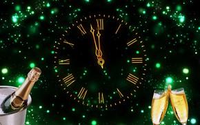 Картинка часы, бокалы, Новый год, циферблат, шампанское, Christmas, New Year