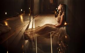 Картинка девушка, свет, платье, зеркало, красивая, на полу, kassio. epia