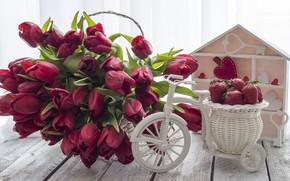 Картинка любовь, букет, клубника, сердечки, тюльпаны, красные, red, love, wood, flowers, romantic, hearts, tulips, valentine's day, …