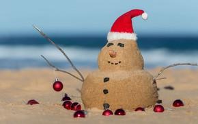 Картинка Австралия, Рождество, Санта, колпак, снеговик из песка