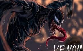 Картинка язык, прыжок, арт, пасть, комиксы, Веном, Venom, симбиот