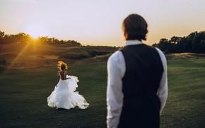 Картинка девушка, мужчина, невеста, бежит, Анастасия Щеглова