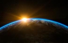 Картинка солнце, космос, восход, рассвет, планета, Земля