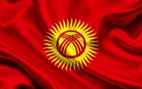Картинка красный, флаг, red, fon, flag, киргизия, кыргызстан, kyrgyzstan