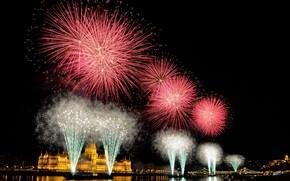 Картинка ночь, салют, фейерверк, парламент, Венгрия, Будапешт