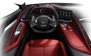 Картинка Дизайн, Рисунок, Corvette, Chevrolet, Салон, Руль, Эскиз, Stingray, 2020, Chevrolet Corvette ( C8 ) Stingray