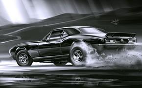 Картинка Car, Art, Black, Smoke, Sketch, Aleksandr Sidelnikov, Chevrolet Camaro SS 1969
