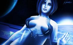 Картинка Halo, Art, Cortana, Illustration, Fanart, Characters, Game Art, by Sarah Grünebaum, Sarah Grünebaum
