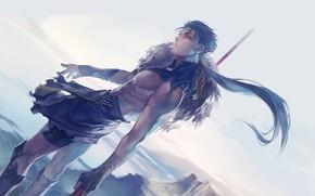 Картинка парень, копьё, лансер, Судьба ночь схватки, Fate / Stay Night