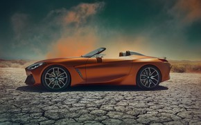 Картинка BMW, родстер, вид сбоку, 2017, Z4 Concept