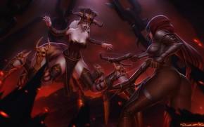 Картинка Девушка, Игра, Паук, Blizzard, Art, Diablo 3, Diablo III, Diablo, Охотница, Digital Art, Game, Босс, …