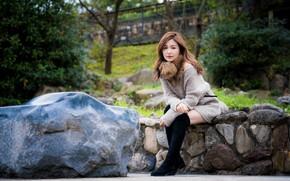 Картинка взгляд, камни, азиатка, сидит
