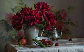 Картинка вишня, яблоко, горох, пионы