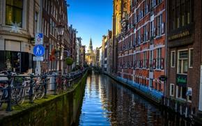 Картинка здания, дома, Амстердам, канал, Нидерланды, набережная, Amsterdam, велосипеды, Netherlands