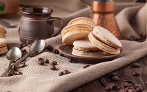 Картинка кофе, зерна, печенье, десерт, кофейные, macaron, миндальное, Макарон