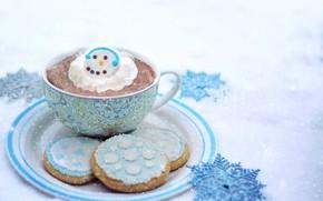 Картинка зима, печенье, чашка, горячий шоколад, взбитые сливки