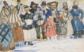 Картинка 1919, Boris Mikhailovich Kustodiev, watercolour over pencil on paper, DESIGN FOR THE SPECTATORS IN THE …