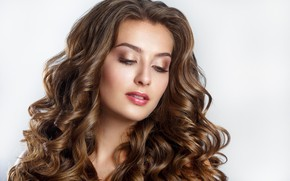Картинка девушка, портрет, макияж, шатенка, локоны, Elena Kratovich
