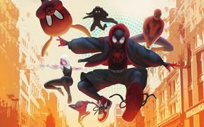 Картинка Fantasy, Фантастика, Fiction, Человек-паук, Comics, MARVEL, Spider-Man, Peter Parker, Питер Паркер, Персонаж, Gwen Stacy, Spider-Woman, …
