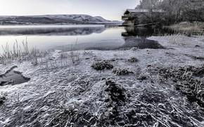 Картинка озеро, дом, лёд