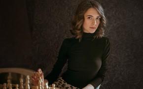 Картинка взгляд, девушка, поза, фон, шахматы, Альберт Лесной, Виктория Макаренко