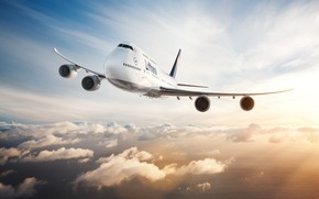 Обои Самолет, Лайнер, Boeing 747, Крылья, 747, Двигатели, Облака, Deutsche Lufthansa AG, Boeing 747-400, Boeing, Борт, ...