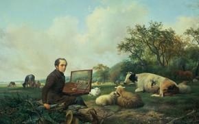 Картинка масло, картина, 1850, Хендрик Ван Де Санде Бакхуйзен, Hendrik van de Sande Bakhuyzen, Художник рисует …
