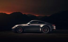 Картинка купе, 911, Porsche, Carrera 4S, 992, 2019, силуэты гор