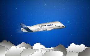 Картинка самолет, Небо, Облака, Минимализм, Звезды, самолёт, Арт, Грузовой, Airbus, Beluga, Airbus Beluga, Super Transporter, Airbus …