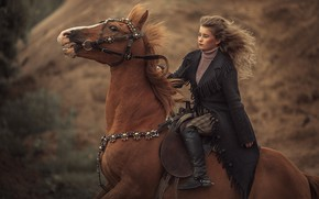Картинка девушка, конь, лошадь, наездница, галоп, скакун
