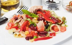Картинка перец, овощи, салат, тунец, фасоль, базилик