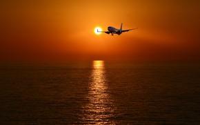 Обои море, закат, самолёт