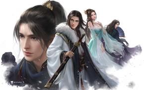 Картинка девушка, фэнтези, арт, парень, 叁乔居 3QSTUDIO, 雪鹰领主 4人图
