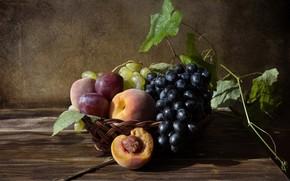 Картинка персики, натюрморт, сливы, фрукты, виноград