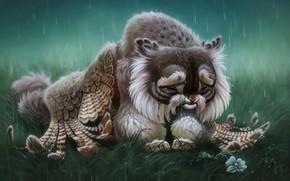 Картинка цветок, дождь, грифон, плачет, by Pixxus