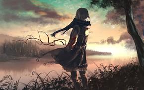 Картинка девушка, туман, озеро, лента