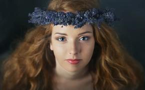 Картинка взгляд, девушка, цветы, крупный план, лицо, фон, волосы, макияж, веснушки, рыжая, шатенка, венок, синие, голубоглазая, …