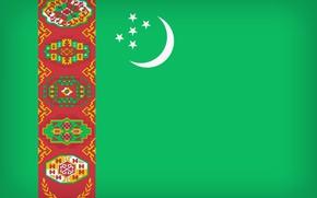 Картинка Flag, Turkmenistan, Turkmenia, Turkmenistan Large Flag, Flag Of Turkmenistan