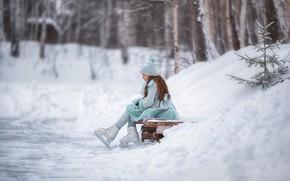 Картинка зима, снег, деревья, природа, девочка, каток, ребёнок, коньки, Анастасия Бармина, Бармина Анастасия