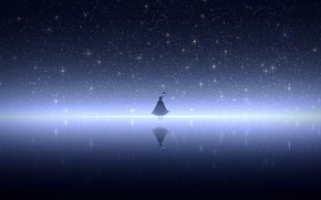 Картинка небо, вода, девушка, ночь, посох, плащ, фэнетзи, парит